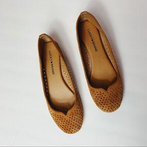 Lucky Brand Suede Laser Cut Flats Brown Tan